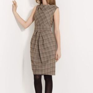 Lida Baday Belted Glen Plaid Stretch Wool Dress